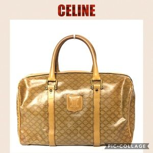 💯 Celine boston satchel travel bag brown canvas